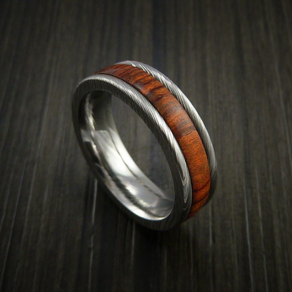 Damascus Steel Ring Inlaid with Cocobolo Hard Wood