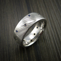 Damascus Steel Ring with Bezel Set Blue Sapphires Custom Band - Revolution Jewelry  - 4