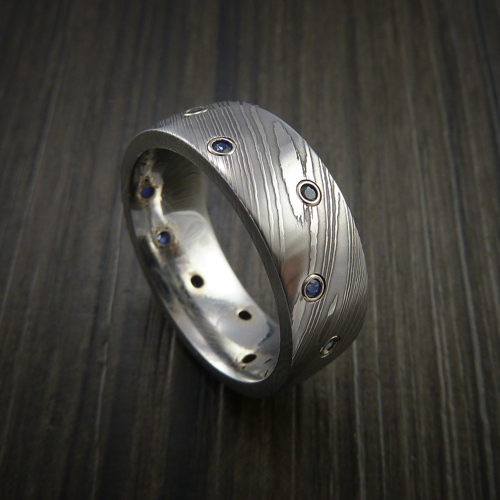 Damascus Steel Ring with Bezel Set Blue Sapphires Custom Band