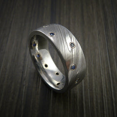Damascus Steel Ring with Bezel Set Blue Sapphires Custom Band - Revolution Jewelry  - 1