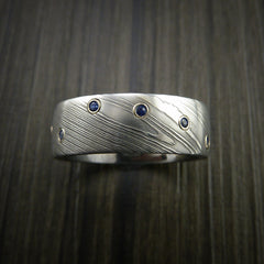 Damascus Steel Ring with Bezel Set Blue Sapphires Custom Band - Revolution Jewelry  - 2