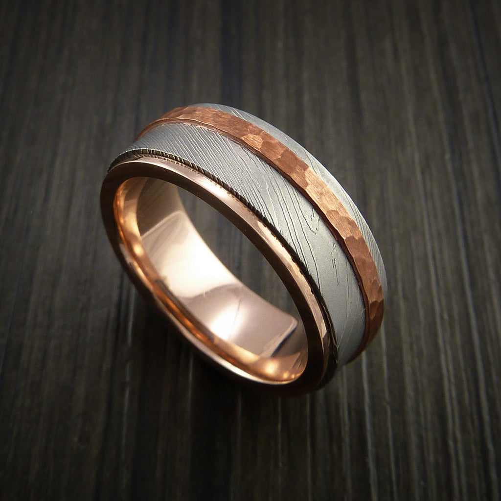 Damascus Steel 14K Gold Ring with Hammered Copper Inlay