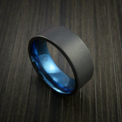 Black Zirconium Ring Traditional Style Band with Blue Anodized Interior Made to Any Sizing and Finish by Revolution Jewelry