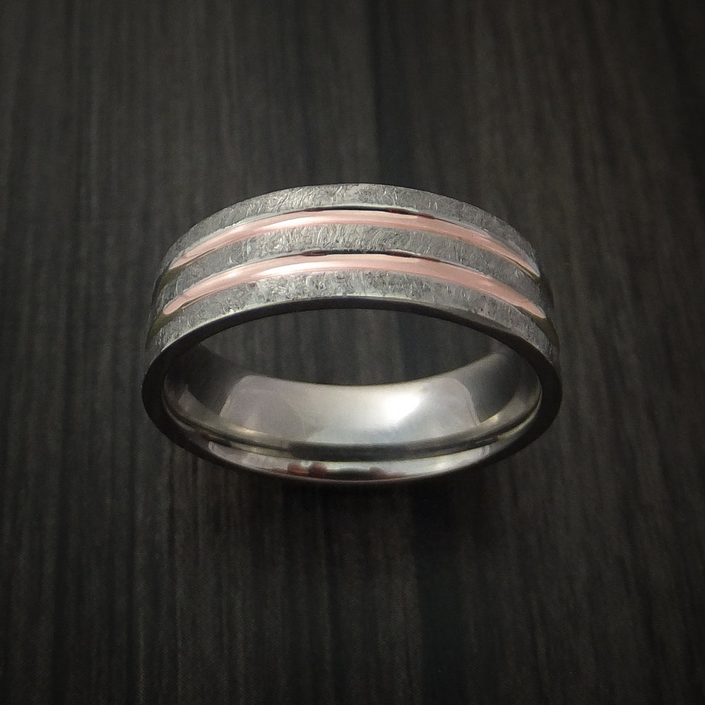 Cobalt Chrome Distressed Finish Band with Dual 14K Rose Gold Inlays