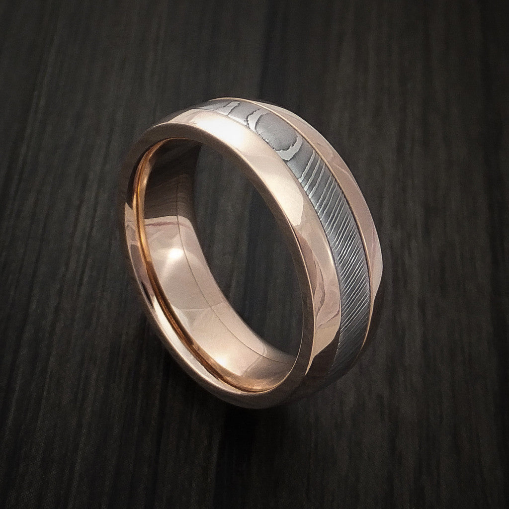 Damascus Steel 14K Rose Gold Ring Wedding Band Custom Made by Revolution Jewelry