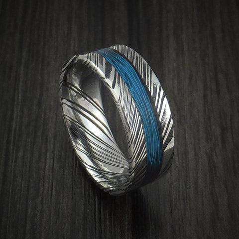 Kuro Damascus Steel and Wire Ring Custom Made Choose Your Color