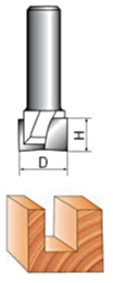 Diagram of BOTTOM CUTTING DIA DOUBLE FLUTE CARBIDE TIPPED CLEANING BOTTOM ROUTER BIT