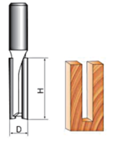 "Diagram of DOUBLE FLUTE STRAIGHT ROUTER BIT CNC CUTTER, 1/2"" INCH SHANK"