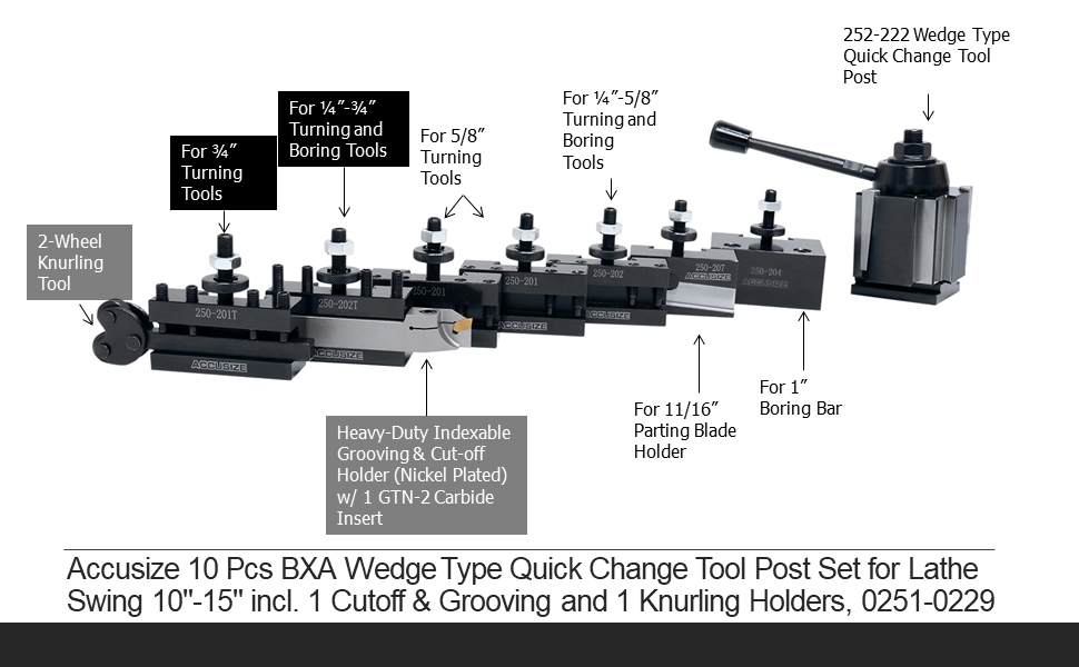 """Accusize 10 Pcs BXA Wedge Type Quick Change Tool Post Set for Lathe Swing 10""""-15"""" incl. 1 Cutoff & Grooving and 1 Knurling Holders, 0251-0229"""