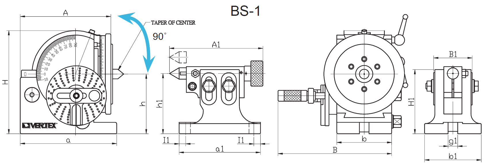 Diagram of BS-1 Semi-Universal Dividing Head, 1001-051