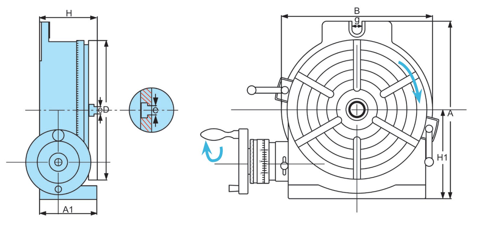 Diagram of HV-10 Horizontal / Rotary Table