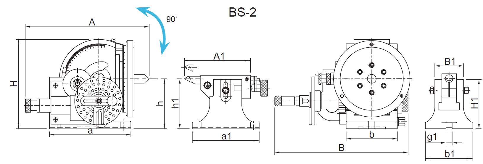 Diagram of BS-2 Universal Dividing Head, 1001-052