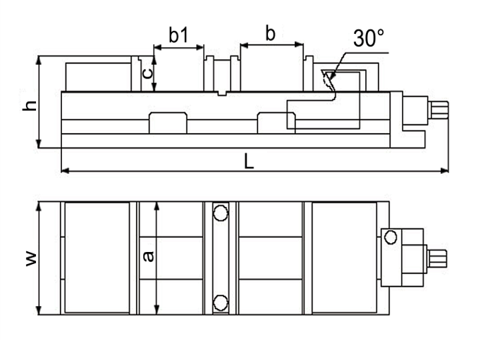 """Diagram of 6"""" Double Lock Angle Tight Precision Machine Milling Vise with 2 Clamping Station, FA42-1242"""