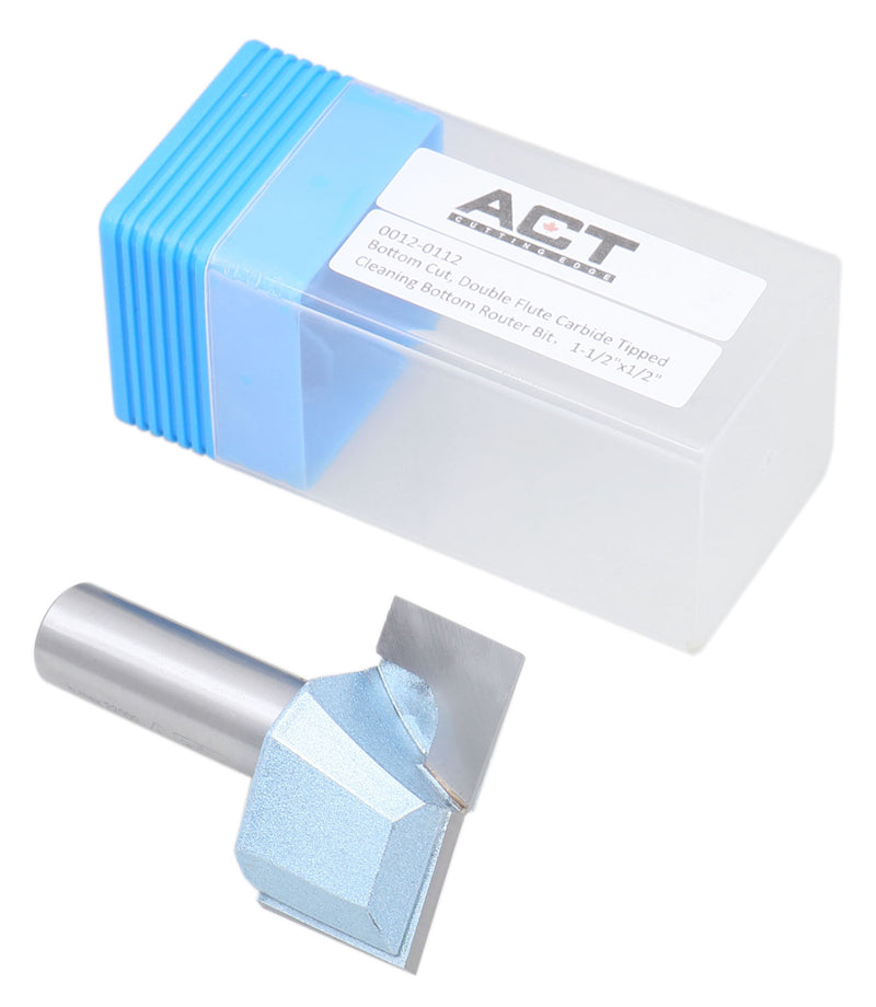 "Accusize Industrial Tools 1/2"" Shk Dia x 1-1/2"" Cutting Dia Double Flute Carbide Tipped Bottom Cleaning (Surface Planing) Router Bit, 0012-0112"