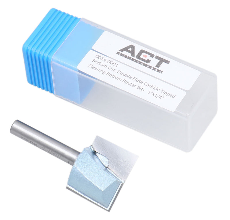 "Accusize Industrial Tools 1/4"" Shk Dia x 1"" Cutting Dia Double Flute Carbide Tipped Bottom Cleaning (Surface Planing) Router Bit, 0014-0001"