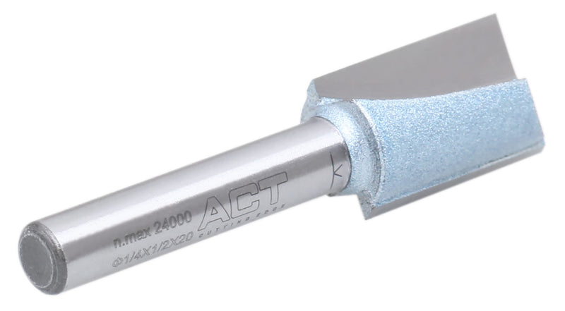 "Accusize Industrial Tools 1/4"" Shk Dia x 1/2"" Cutting Dia Double Flute Carbide Tipped Bottom Cleaning (Surface Planing) Router Bit, 0014-0012"