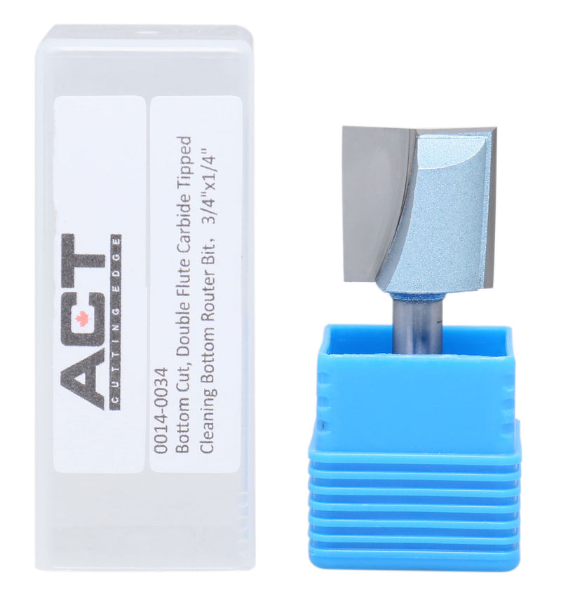 "Accusize Industrial Tools 1/4"" Shk Dia x 3/4"" Cutting Dia Double Flute Carbide Tipped Bottom Cleaning (Surface Planing) Router Bit, 0014-0034"