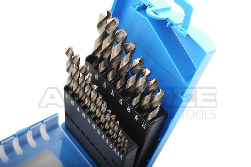 "21 Piece ANSI Jobber Drill Set, M35(HSS+5% COBALT), 135-Degree Split Point, 1/16-3/8"","