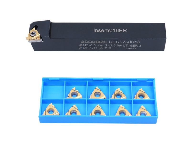 "12 pc UN Threading Set, 3/4"" Shank, Indexable Thread Tool Set, Right Hand,  with 10 pc Tin Coating Threading Inserts"