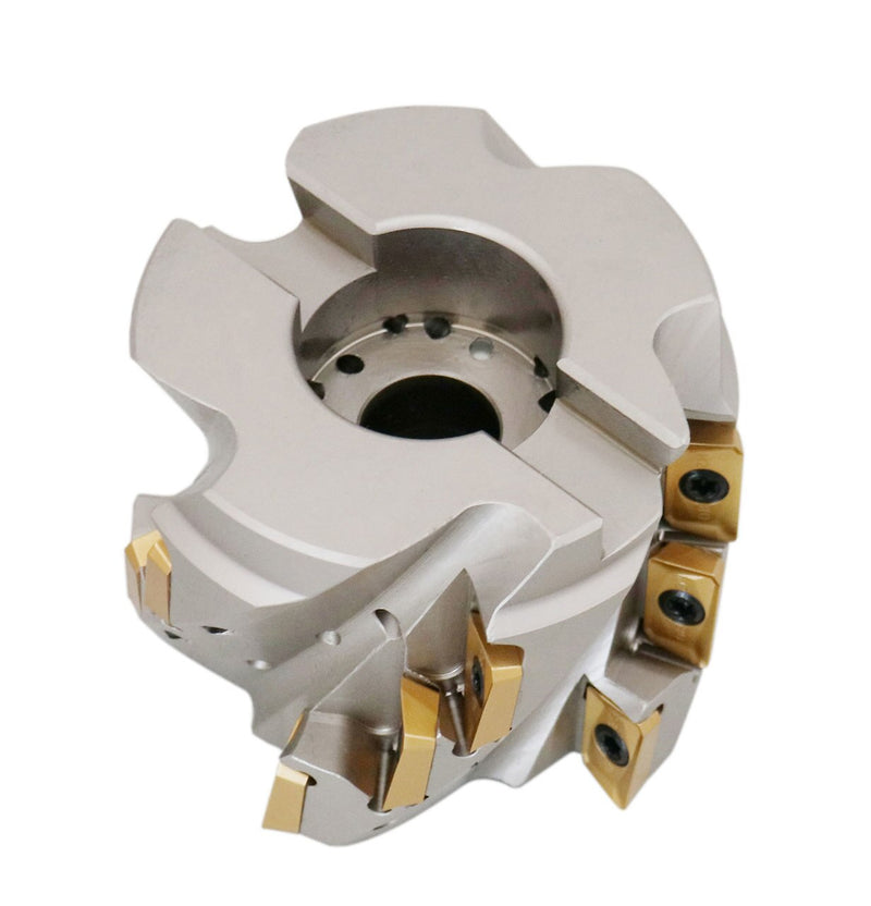 "3"" x 1-1/4"" 90° Heavy-Duty Coolant Helical Shell Indexable Milling Cutter (Nickel Plated), with 15 Carbide APKT1604 Inserts,"