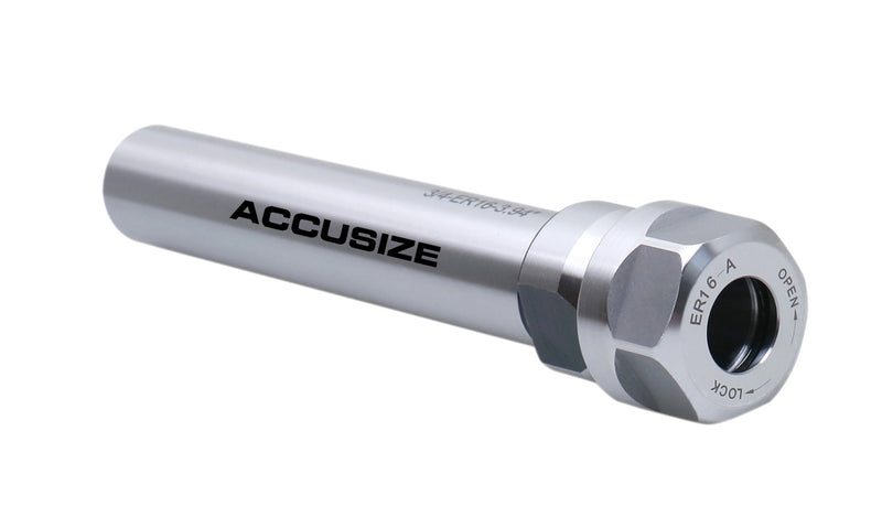 Accusize Industrial Tools 3.94'' Shank Length 3/4'' Straight Shank ER16 Alloy Steel Collet Chuck Extension Rod, 0223-0208