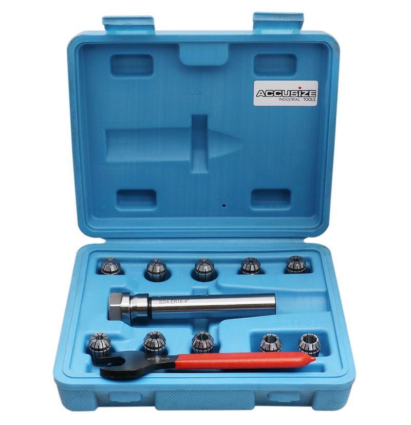 "10 Pc ER16 Collet Set, 1/32"" to 3/8"",  3/4"" x 3.35"" Chuck Holder + Wrench in Fitted Strong Box,"