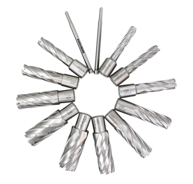 "13 Pc/Set, 7/16"" to 1-1/16"" HSS Annular Cutters, 2"" Cutting Depth with 2 Pilot Pins in Strong Plastic Box,"