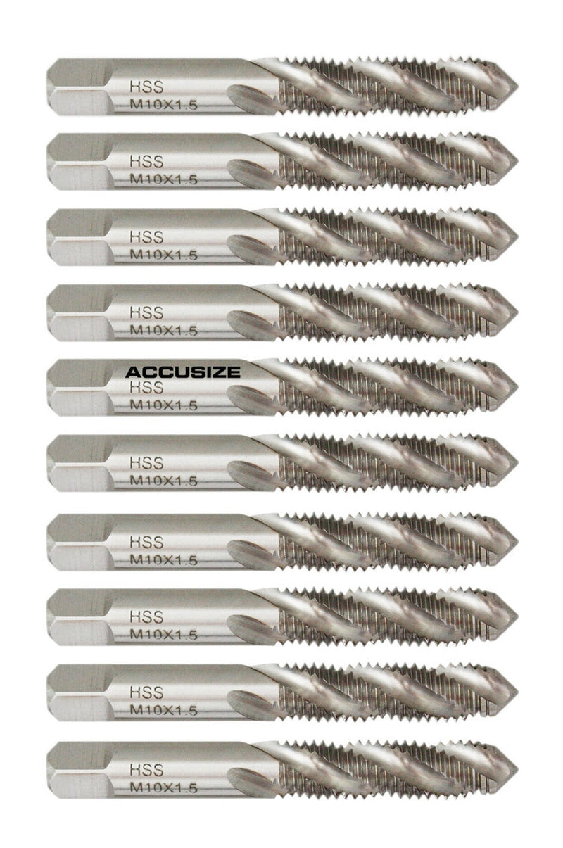 ONYX 30918 Spiral Point Metric Taps Bright Finish 3 Flutes M8 x 1.0 Size D5 Pitch Diameter CNC Style High-Speed Steel