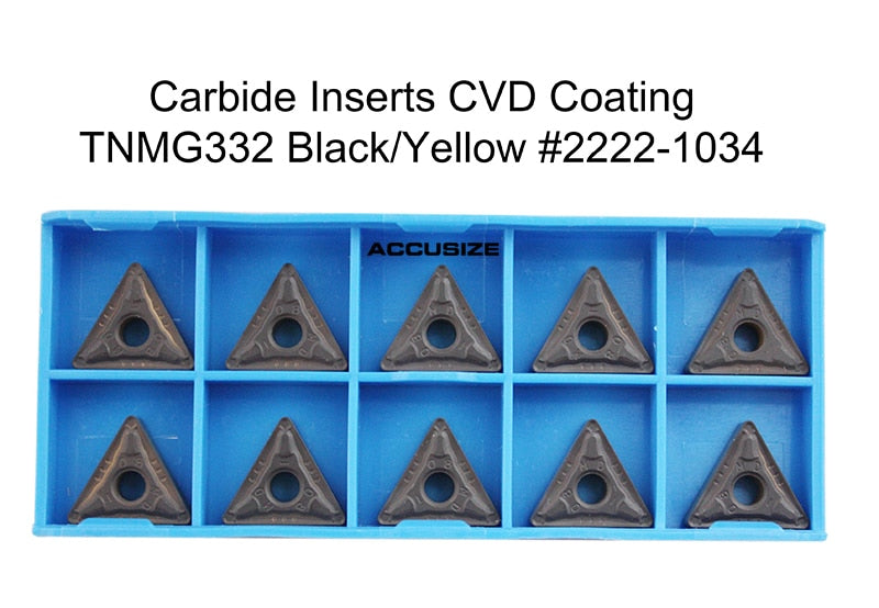 TNMG Carbide Inserts, CVD Coated, Black/Yellow, 10 ps/box