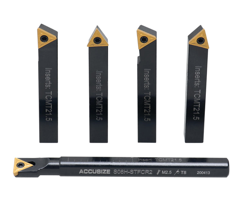 "Accusize Industrial Tools 3/8"" 5ps/Set Indexable Turning Tool Set (4Ps Turning + 1 PC Boring), 2386-0038"