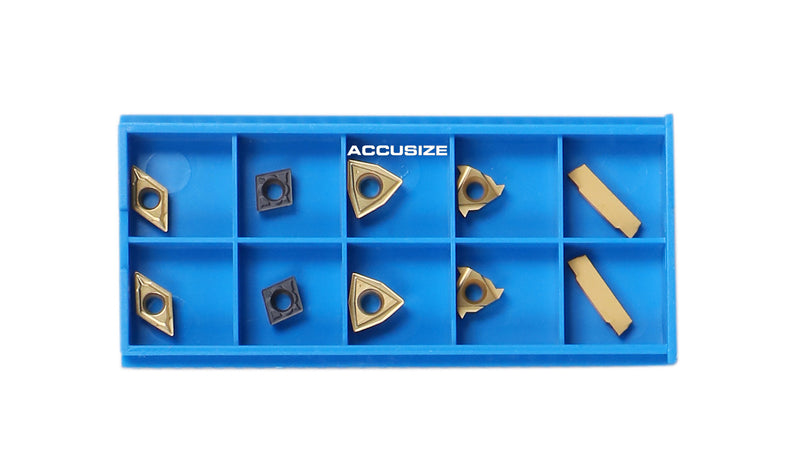 2 Pc of Each Kind of Carbide Inserts for Accusize 7ps Indexable Carbide Lathe Turning Tool Sets, CVD Coated and Tin Coated, Total 10 Pieces