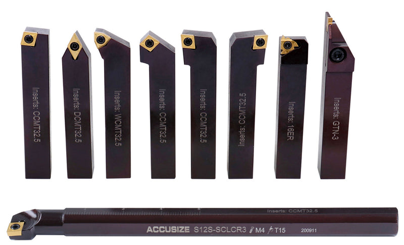 "3/4"" 9 Pieces/Set, Indexable Carbide Turning Tools and Boring Bar, 2988-0034"