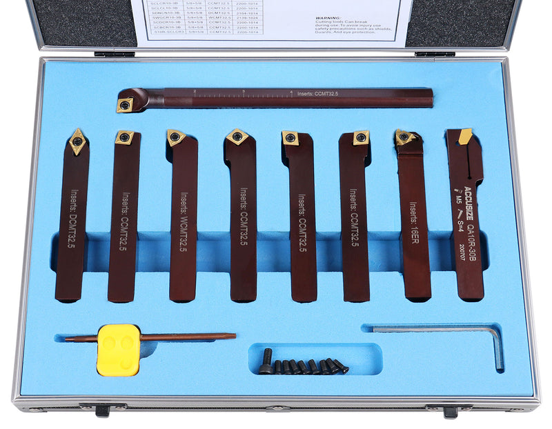 "5/8"" 9 Pieces/Set, Indexable Carbide Turning Tools and Boring Bar,  2988-0058"