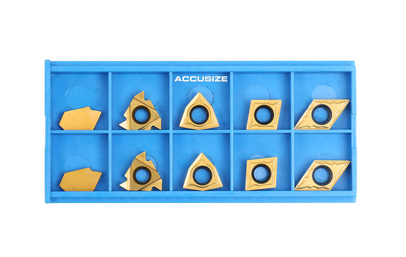 2 Pc of Each Style of Carbide Inserts for 9-Pc Indexable Carbide Turning Tool and Boring Bar Set