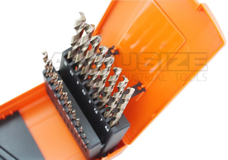 M35 HSS+5% Cobalt Metric Drill Set, 1 to 10mm by 0.5mm, 135 deg split point,