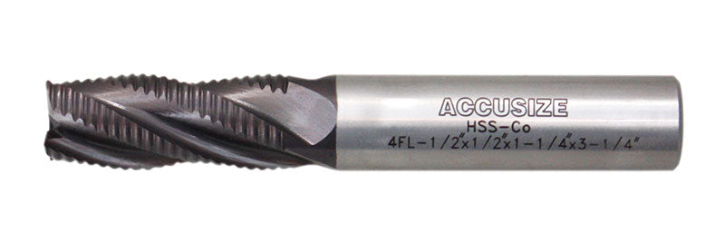 1 Shank Diameter 1 Diameter Accusize Industrial Tools Coarse Tooth M42 8/% Cobalt Tialn Roughing End Mill 3 Flt Length 1102-0031