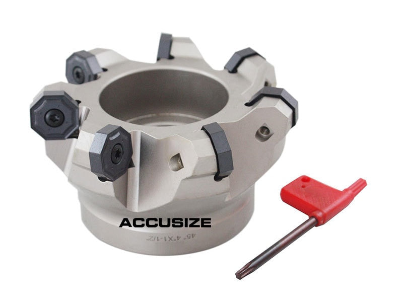 "4"" x 1.5"", 7 Flute, 45 Degree Indexable Face Mill for Octagonal Double Side 16 Cutting Edge Insert, ONHU0800608 Inserts, 3300-1630"