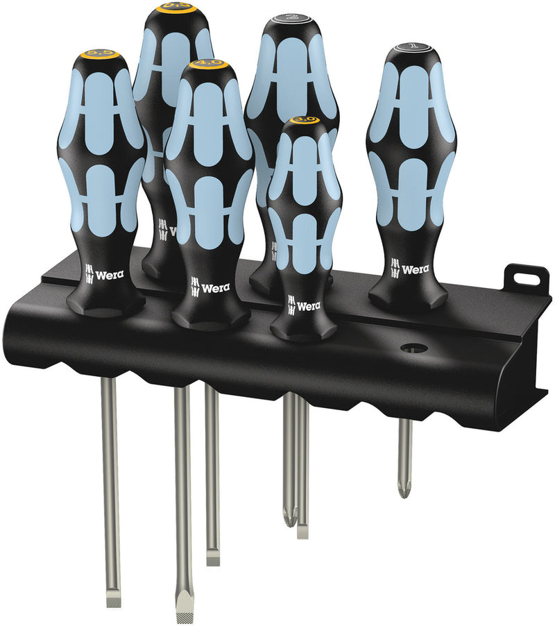 Wera 3334/3355/6 Screwdriver set, stainless and rack, 6pieces