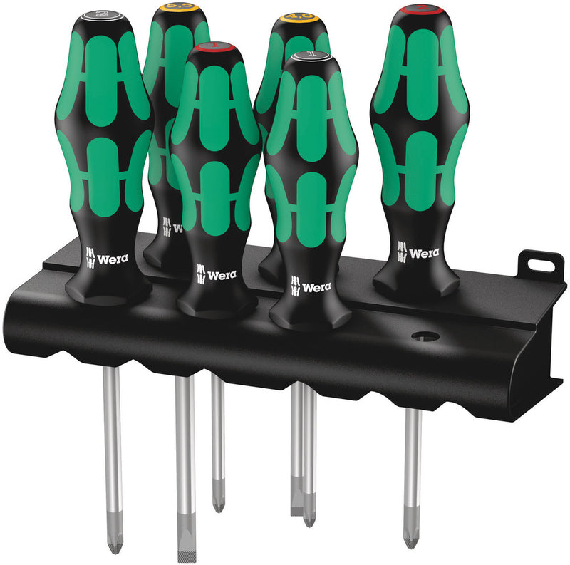 Wera 335/350/355/6 Screwdriver set Kraftform Plus Lasertip and rack