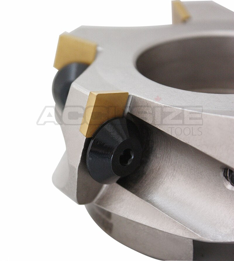 75 Degree Positive Rake Indexable Face Milling Cutters, with SPG422 Carbide Inserts Installed, Nickel Plated Body