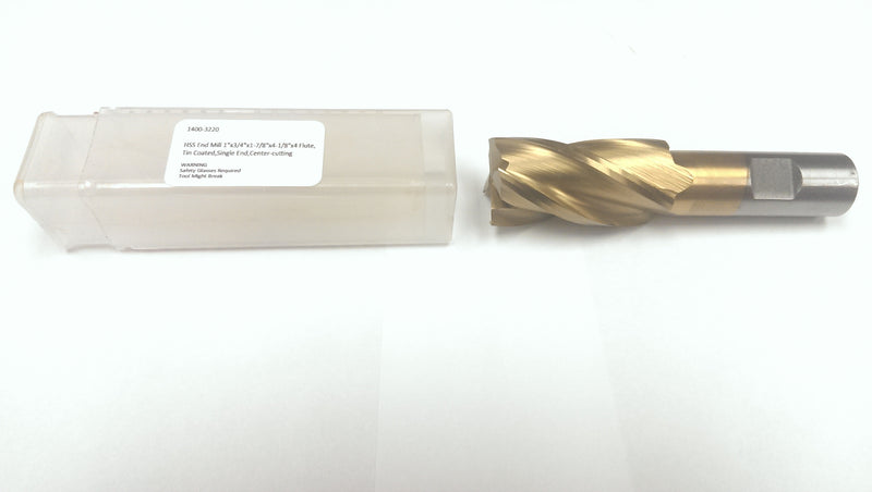 H.S.S. End Mills, TIN Coated, 4 Flute