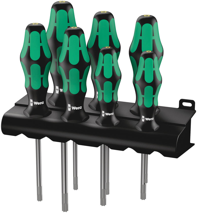Wera 367/7 TORX® HF Kraftform Plus screwdriver set with holding function and rack, 7pieces