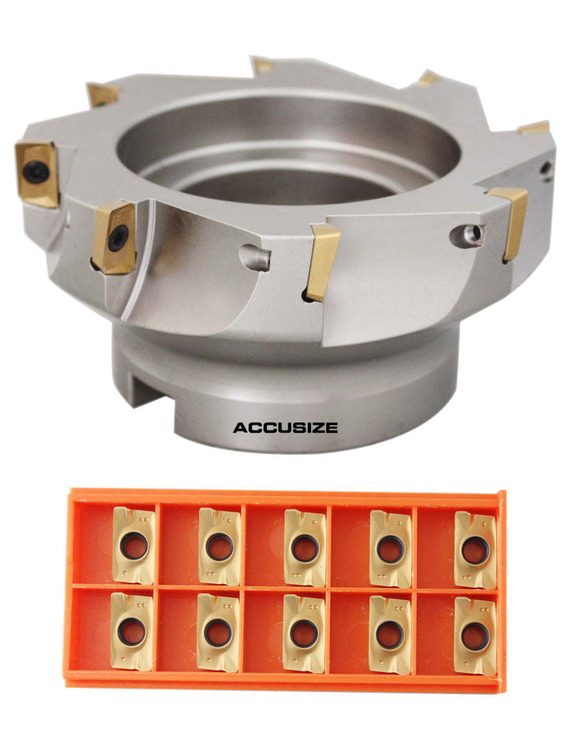 "5"" x 1-1/2"" 90 Deg. Square Shoulder Indexable Face Mill w/ 18 APKT1604 Inserts,"