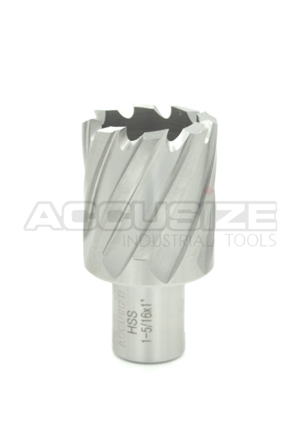 "1"" Cutting Depth, H.S.S. Annular Cutters, with 3/4"" or 1-1/4"" Weldon Shank, CBN Ground,  ANSI STANDARD"