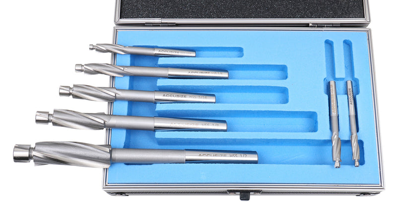7 Pc'' H.S.S. Solid Capscrew Counterbore Set 3 Flute Straight Shank, 509S-0007