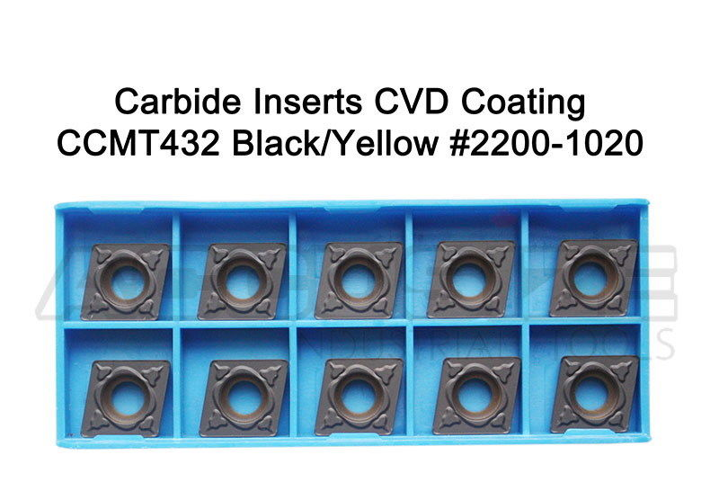 Carbide inserts, CVD Coating, CCMT, Black/Yellow, 10 ps/box