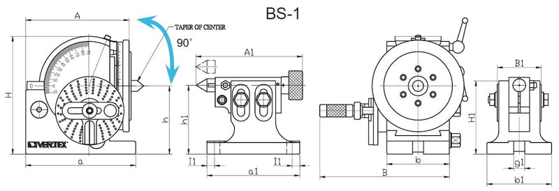 BS-1 5 Inch Semi Universal Dividing Head for Milling Machine Rotary Table, 1001-051