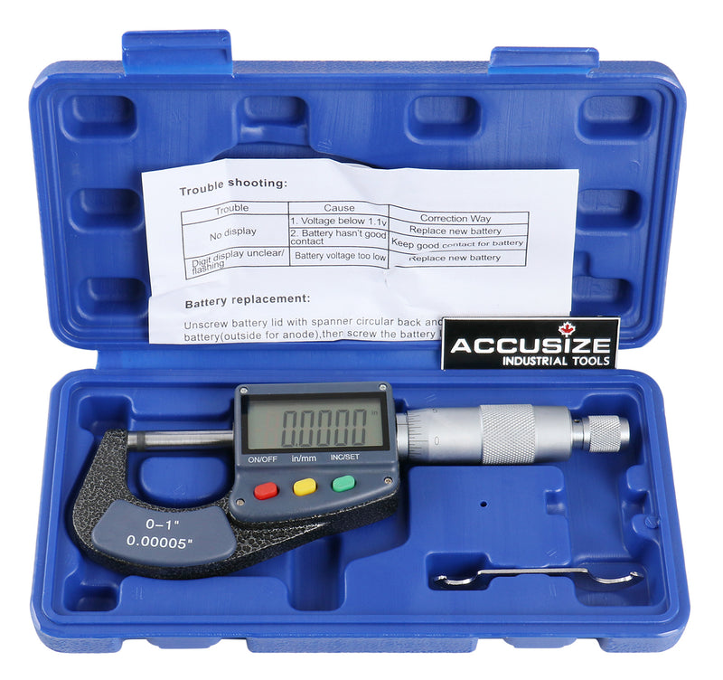 0-1'' by 0.0001'' Large Screen Electronic Digital Outside Micrometer Carbide Tipped, C085-0001