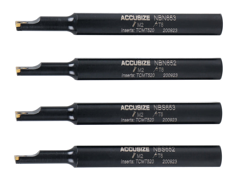 4pc Indexable Mini Boring Bar Set, 95° & 91° Entry Angle, Carbide TiN Coated TCMT520 Inserts, EJ99-2178