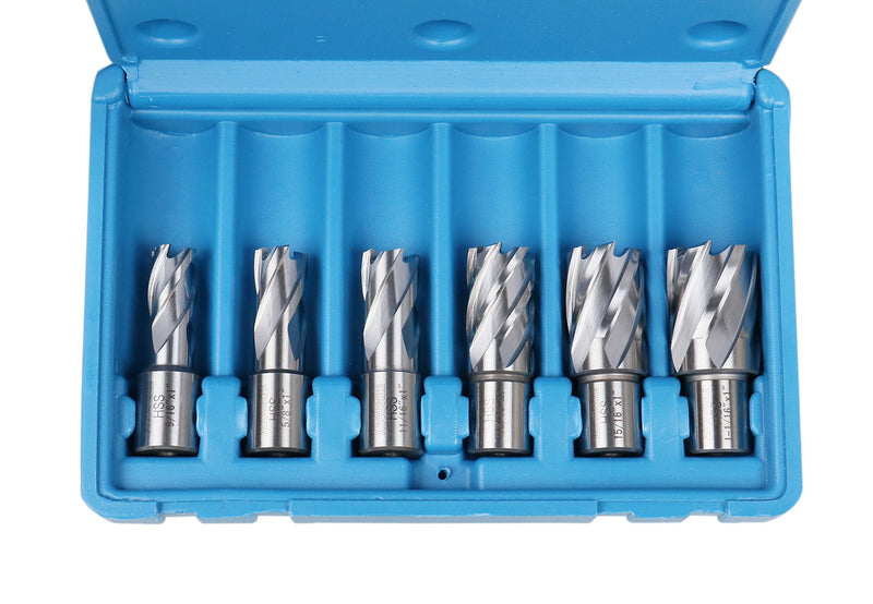 Accusize Industrial Tools 8 Pcs Hss Annular Cutter Set - 1'' Cutting Depth, 9/16'' to 1-1/16'', with Weldon Shank, Hcs3-0000